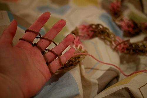 First Time Finger Knitting 10